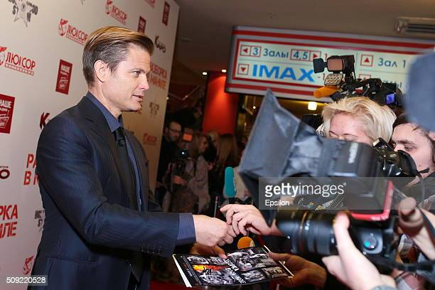 Casper Van Dien attends 'Showdown in Manila' premiere in October cinema hall on February 9 2016 in Moscow Russia