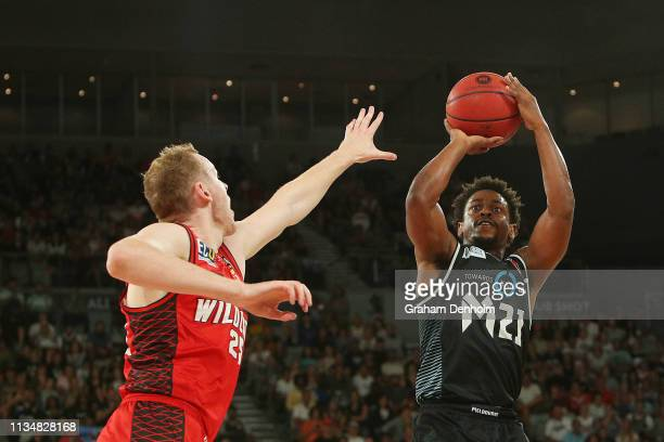 Casper Ware Jnr of Melbourne United shoots during game two of the NBL Grand Final Series between Melbourne United and the Perth Wildcats at Melbourne...
