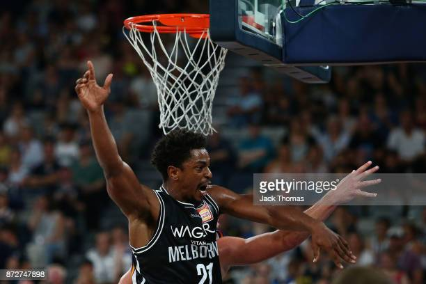Casper Ware Jr of Melbourne United blocks a shot during the round six NBL match between Melbourne United and the Sydney Kings at Hisense Arena on...