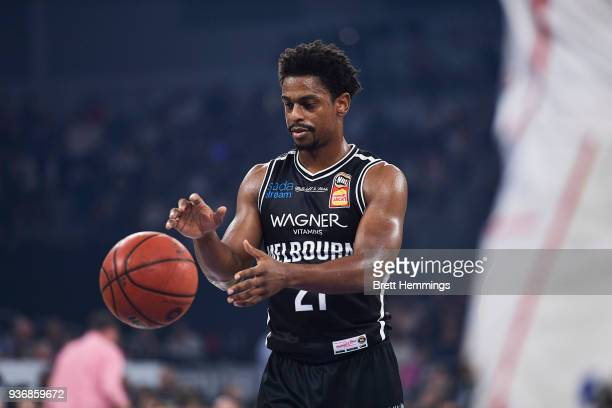 Casper Ware of Melbourne controls the ball during game three of the Grand Final series between Melbourne United and the Adelaide 36ers at Hisense...