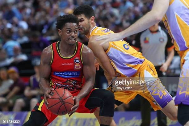 Casper Ware of Melbourne dribbles the ball during the round 16 NBL match between the Sydney Kings and Melbourne United at Qudos Bank Arena on January...