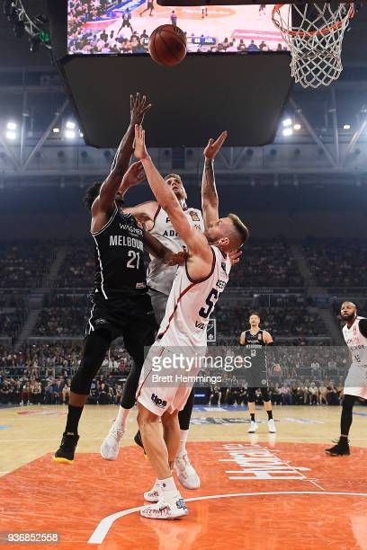 Casper Ware of Melbourne drives towards the basket during game three of the Grand Final series between Melbourne United and the Adelaide 36ers at...