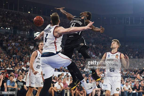 Casper Ware of Melbourne looses the ball as he drives towards the basket during game three of the Grand Final series between Melbourne United and the...