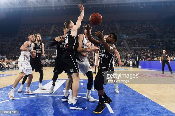 Casper Ware of Melbourne scrambles for the ball during game three of the Grand Final series between Melbourne United and the Adelaide 36ers at...