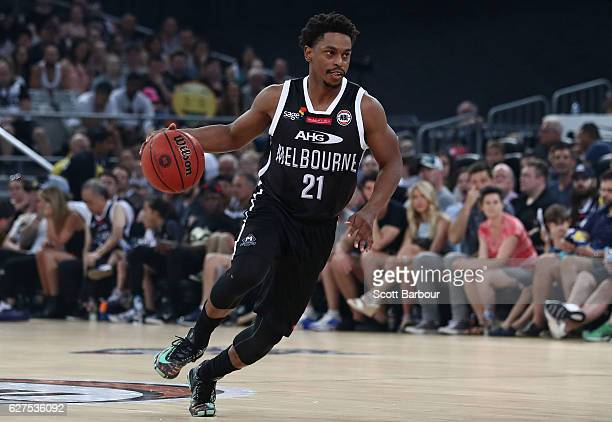 Casper Ware of Melbourne United controls the ball during the round nine NBL match between Melbourne United and New Zealand Breakers at Hisense Arena...