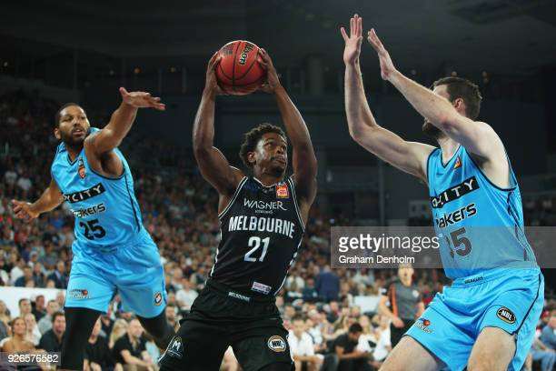 Casper Ware of Melbourne United drives at the basket during game one of the NBL Semi Final series between Melbourne United and the New Zealand...