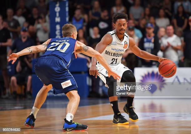 Casper Ware of Melbourne United drives during game two of the NBL Grand Final series between the Adelaide 36ers and Melbourne United at Titanium...