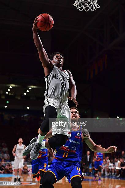 Casper Ware of Melbourne United drives to the basket during the round 15 NBL match between the Adelaide 36ers and Melbourne United at Titanium...