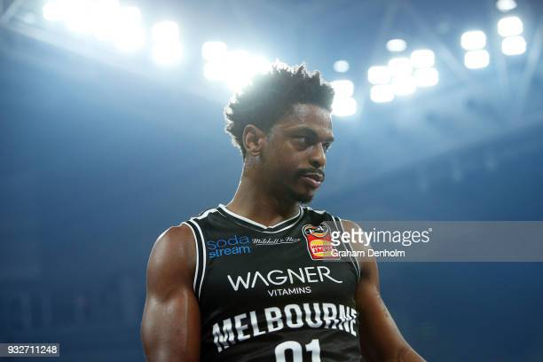 Casper Ware of Melbourne United looks on during game one of the NBL Grand Final series between Melbourne United and the Adelaide 36ers at Hisense...