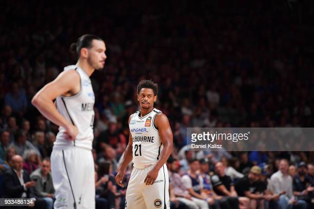 Casper Ware of Melbourne United looks on during game two of the NBL Grand Final series between the Adelaide 36ers and Melbourne United at Titanium...