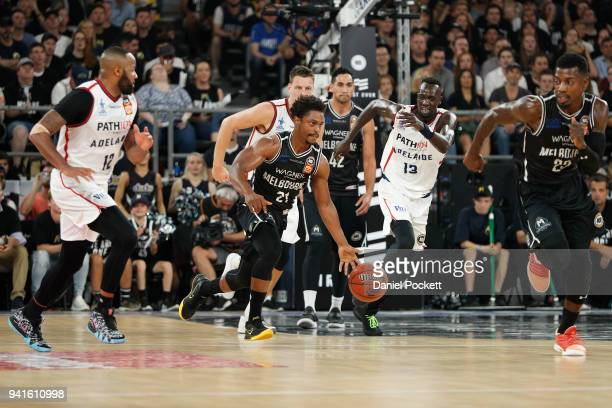 Casper Ware of Melbourne United runs with the ball during game five of the NBL Grand Final series between Melbourne United and the Adelaide 36ers at...