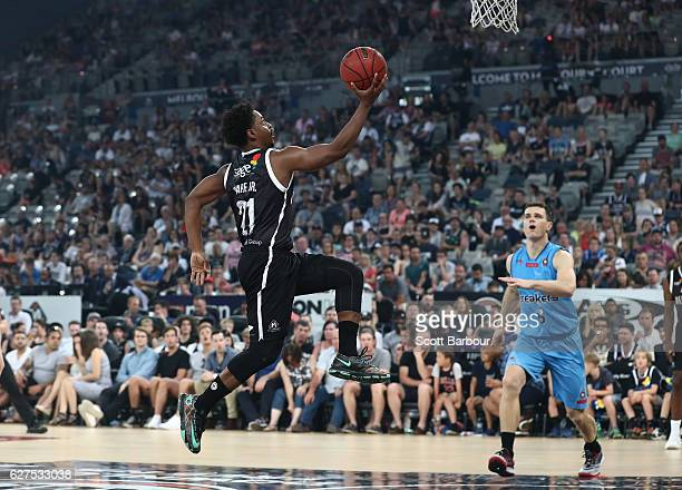 Casper Ware of Melbourne United scores a basket during the round nine NBL match between Melbourne United and New Zealand Breakers at Hisense Arena on...