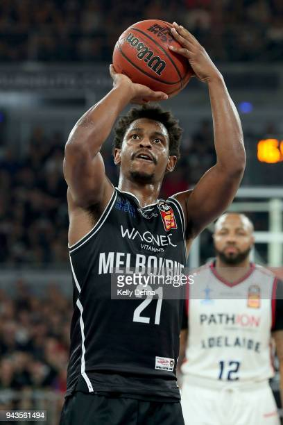 Casper Ware of Melbourne United shoots during game five of the NBL Grand Final series between Melbourne United and the Adelaide 36ers at Hisense...