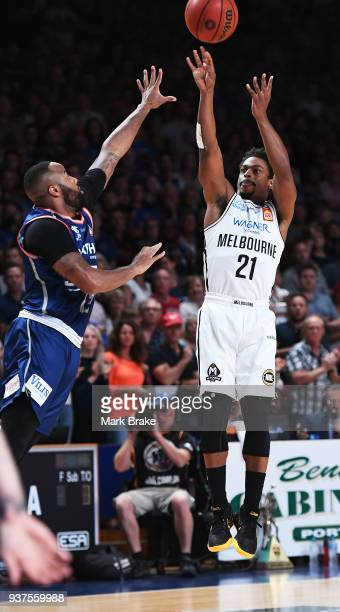 Casper Ware of Melbourne United shoots during game four of the NBL Grand Final series between the Adelaide 36ers and Melbourne United at Priceline...