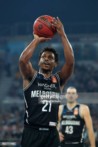 Casper Ware of Melbourne United shoots during game one of the NBL Grand Final series between Melbourne United and the Adelaide 36ers at Hisense Arena...