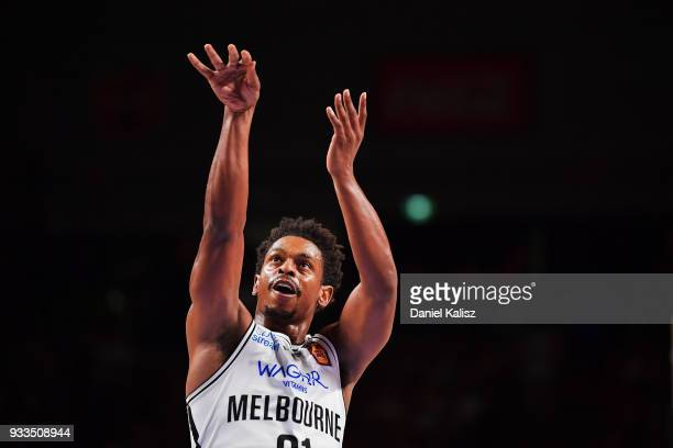 Casper Ware of Melbourne United shoots during game two of the NBL Grand Final series between the Adelaide 36ers and Melbourne United at Titanium...