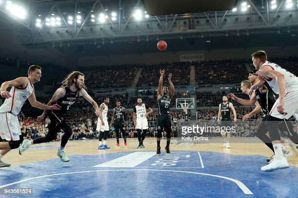 Casper Ware of Melbourne United shoots from the free throw line during game five of the NBL Grand Final series between Melbourne United and the...