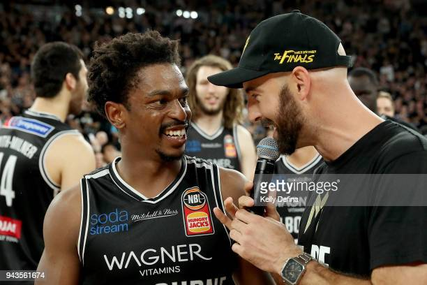 Casper Ware of Melbourne United speaks to media after the Melbourne United victory of game five of the NBL Grand Final series between Melbourne...