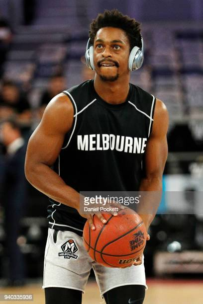 Casper Ware of Melbourne United warms up before game five of the NBL Grand Final series between Melbourne United and the Adelaide 36ers at Hisense...
