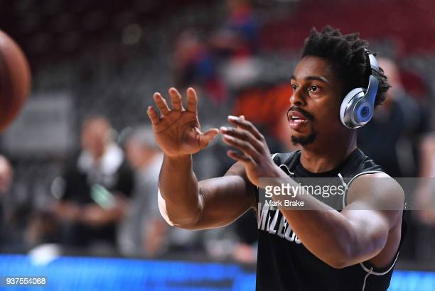 Casper Ware of Melbourne United warms up before game four of the NBL Grand Final series between the Adelaide 36ers and Melbourne United at Priceline...