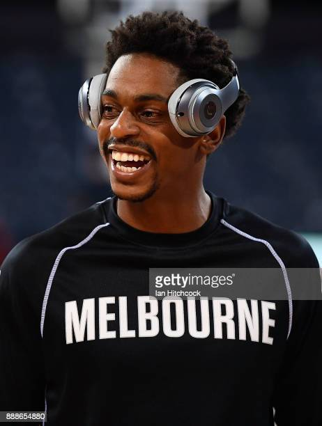 Casper Ware of Melbourne United warms up before the start of the round nine NBL match between the Cairns Taipans and Melbourne United at Cairns...