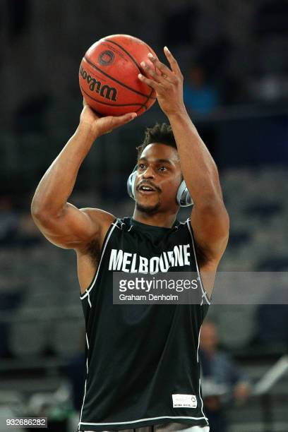 Casper Ware of Melbourne United warms up prior to game one of the NBL Grand Final series between Melbourne United and the Adelaide 36ers at Hisense...
