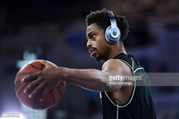 Casper Ware of Melbourne warms up priot to game three of the Grand Final series between Melbourne United and the Adelaide 36ers at Hisense Arena on...