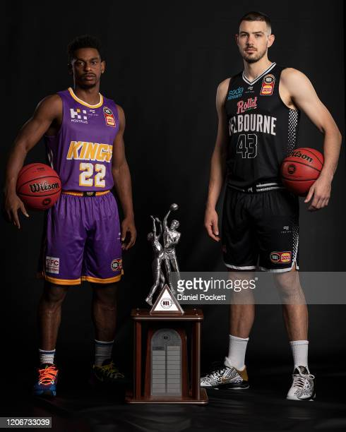 Casper Ware of the Kings and Chris Goulding of United pose during the 2020 NBL Finals Launch at Crown Palladium on February 17, 2020 in Melbourne,...