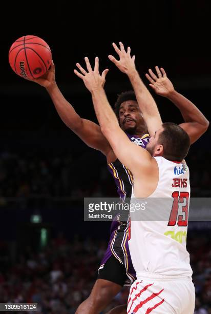 Casper Ware of the Kings controls the ball during the round 11 NBL match between Sydney Kings and the Perth Wildcats at Qudos Bank Arena on March 28,...