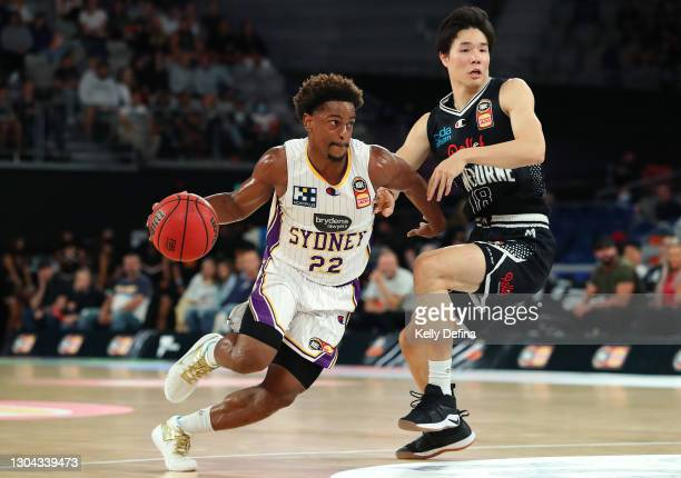 Casper Ware of the Kings drives past Yudai Baba of Melbourne United during the NBL Cup match between Melbourne United and the Sydney Kings at John...