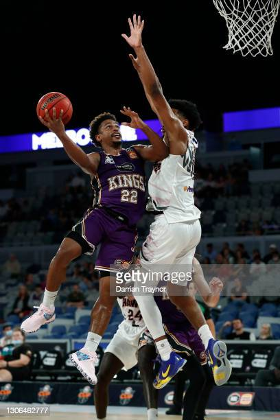 Casper Ware of the Kings drives to the basket during the NBL Cup match between the Sydney Kings and the Illawarra Hawks at John Cain Arena on March...