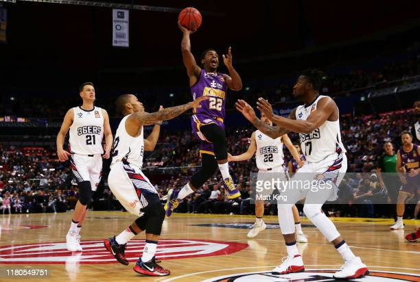 Casper Ware of the Kings drives to the basket during the round two NBL match between the Sydney Kings and the Adelaide 36ers at Qudos Bank Arena on...