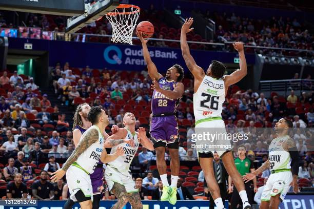 Casper Ware of the Kings lays up the ball during the round 14 NBL match between the Sydney Kings and South East Melbourne Phoenix at Qudos Bank...