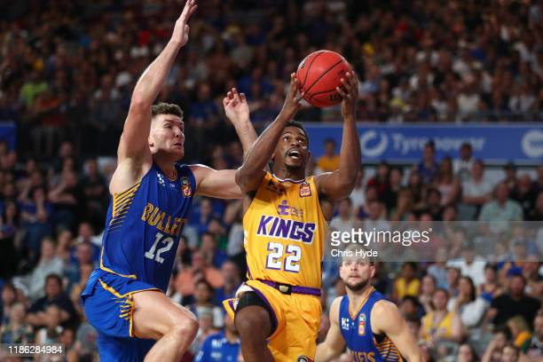 Casper Ware of the Kings shoots during the round six NBL match between the Brisbane Bullets and the Sydney Kings at Nissan Arena on November 08 2019...