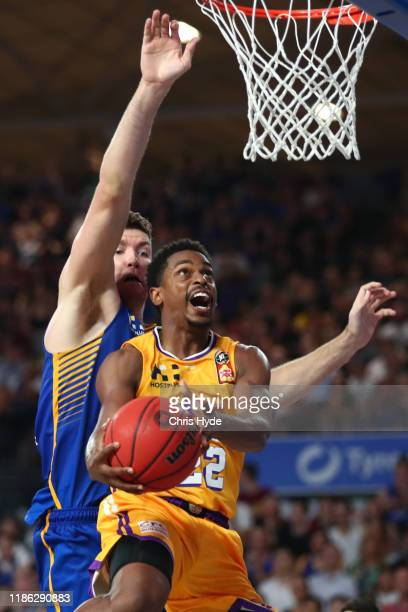 Casper Ware of the Kings shoots during the round six NBL match between the Brisbane Bullets and the Sydney Kings at Nissan Arena on November 08, 2019...