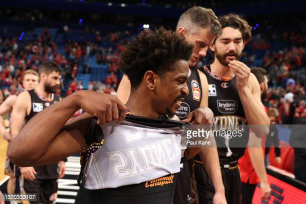 Casper Ware of the Kings walks from the court after being defeated during the round 20 NBL match between the Perth Wildcats and the Sydney Kings at...