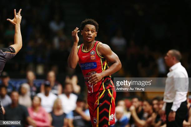 Casper Ware of United celebrates a three pointer during the round 16 NBL match between the New Zealand Breakers and Melbourne United at North Shore...