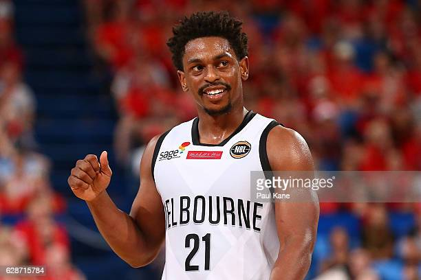 Casper Ware of United celebrates after a shot during the round 10 NBL match between the Perth Wildcats and Melbourne United at Perth Arena on...