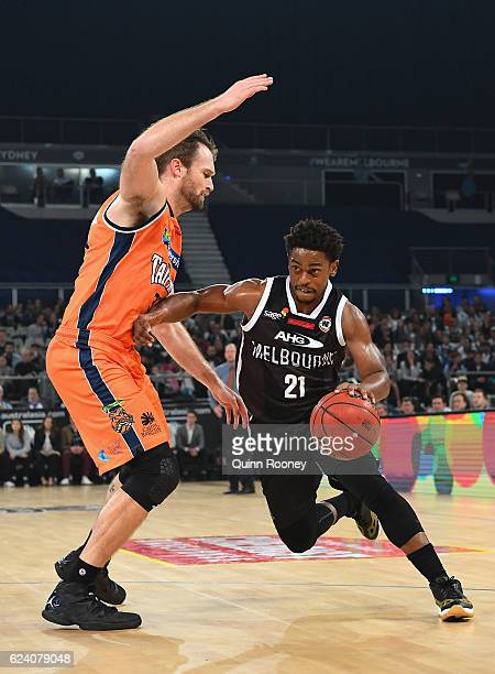 Casper Ware of United charges to the basket during the round seven NBL match between Melbourne United and the Cairns Taipans at Hisense Arena on...