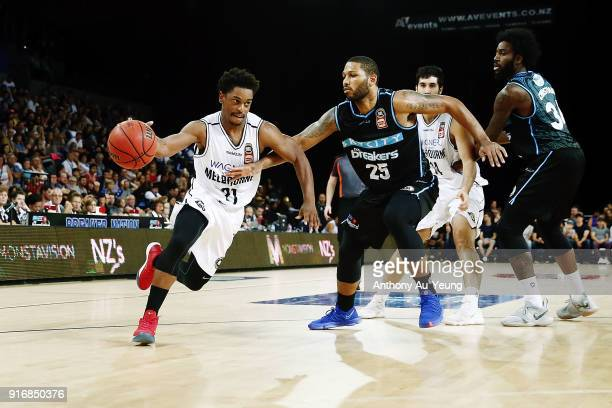 Casper Ware of United drives against Devonte DJ Newbill of the Breakers during the round 18 NBL match between the New Zealand Breakers and Melbourne...