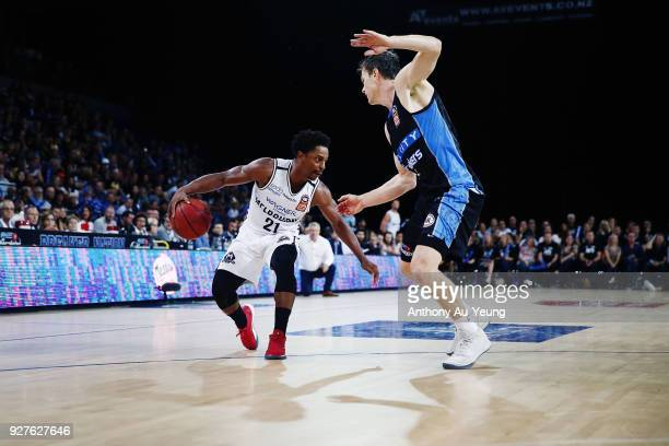 Casper Ware of United drives against Kirk Penney of the Breakers during game two of the NBL semi final series between Melbourne United and the New...