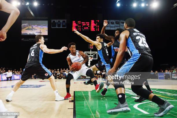 Casper Ware of United drives into the paint during game two of the NBL semi final series between Melbourne United and the New Zealand Breakers at...