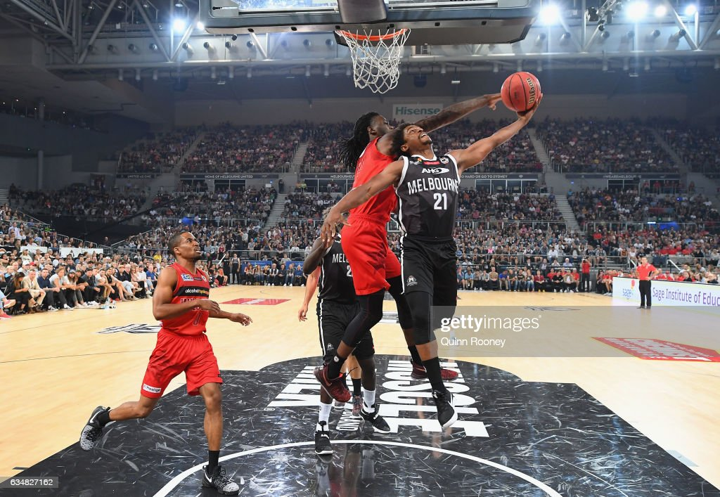 Casper Ware of United drives to the basket during the round 19 NBL match between Melbourne United and the Perth Wildcats at Hisense Arena on February 12, 2017 in Melbourne, Australia.