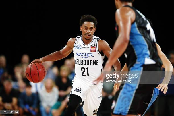 Casper Ware of United in action during game two of the NBL semi final series between Melbourne United and the New Zealand Breakers at Spark Arena on...