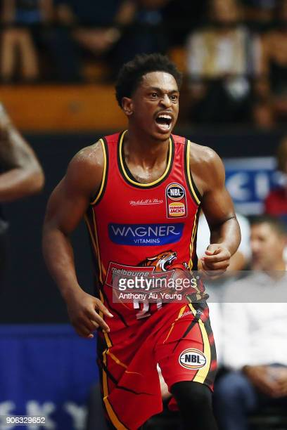 Casper Ware of United reacts after hitting a three pointer during the round 16 NBL match between the New Zealand Breakers and Melbourne United at...