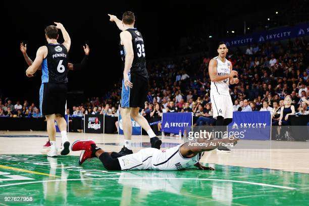 Casper Ware of United tries to sell a call to the Referee during game two of the NBL semi final series between Melbourne United and the New Zealand...