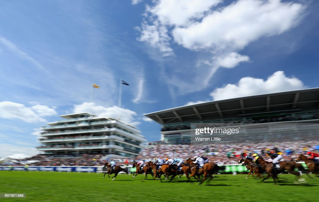 Caspian Prince (2) ridden by Tom Eaves wins the Investec Corporate Banking 'Dash' Handicapduring during the Investec Derby Day at Epsom Downs Racecourse on June 3, 2017 in Epsom, England.