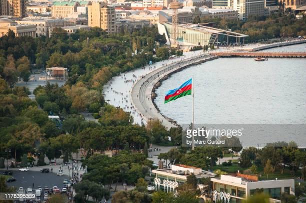 caspian sea waterfront promenade, baku, azerbaijan - baku stock pictures, royalty-free photos & images