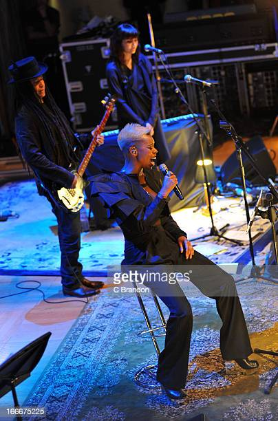 Cass and Skin of Skunk Anansie perform on stage during the band's first ever Unplugged concert at Cadogan Hall on April 15 2013 in London England