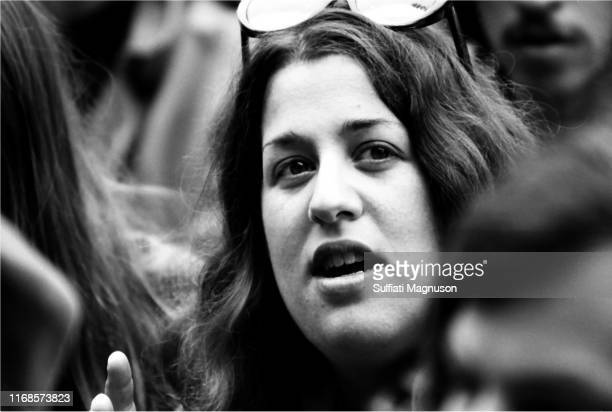 Cass Elliot awaiting a performance as festival attendees musicians staff and media freely mingled at The Monterey International Pop Festival in the...